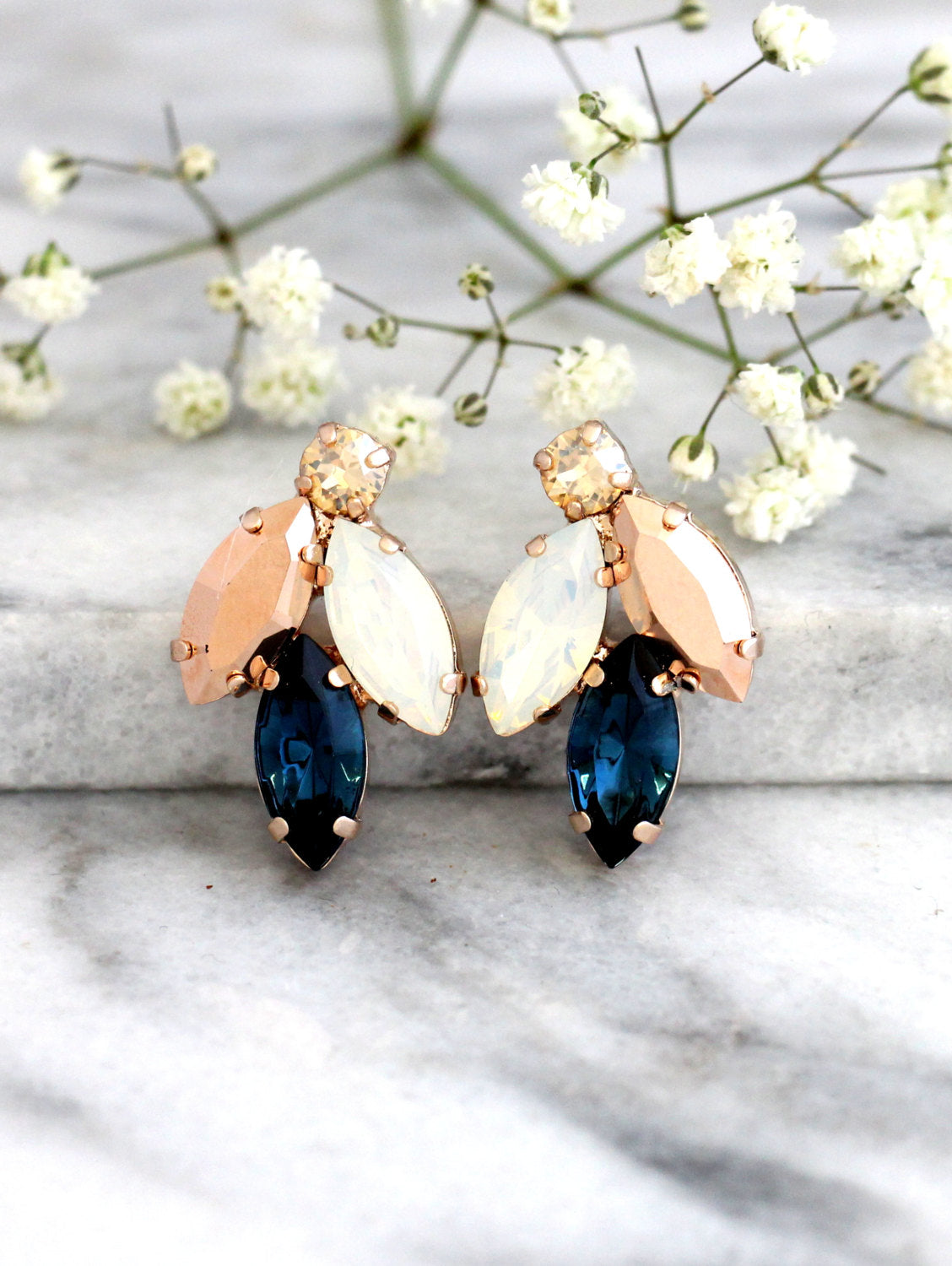 Juliet Blue Navy White Opal Crystal Swarovski Cluster Earrings