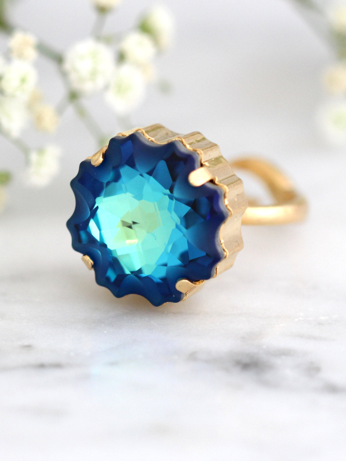 Grace Dark Blue Crystal Swarovski Cocktail Ring