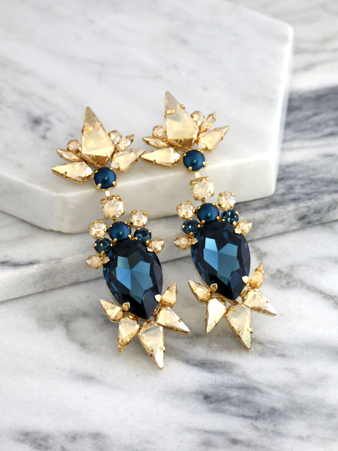 Amazona Blue Navy Champagne Crystal Swarovski Chandelier Earrings