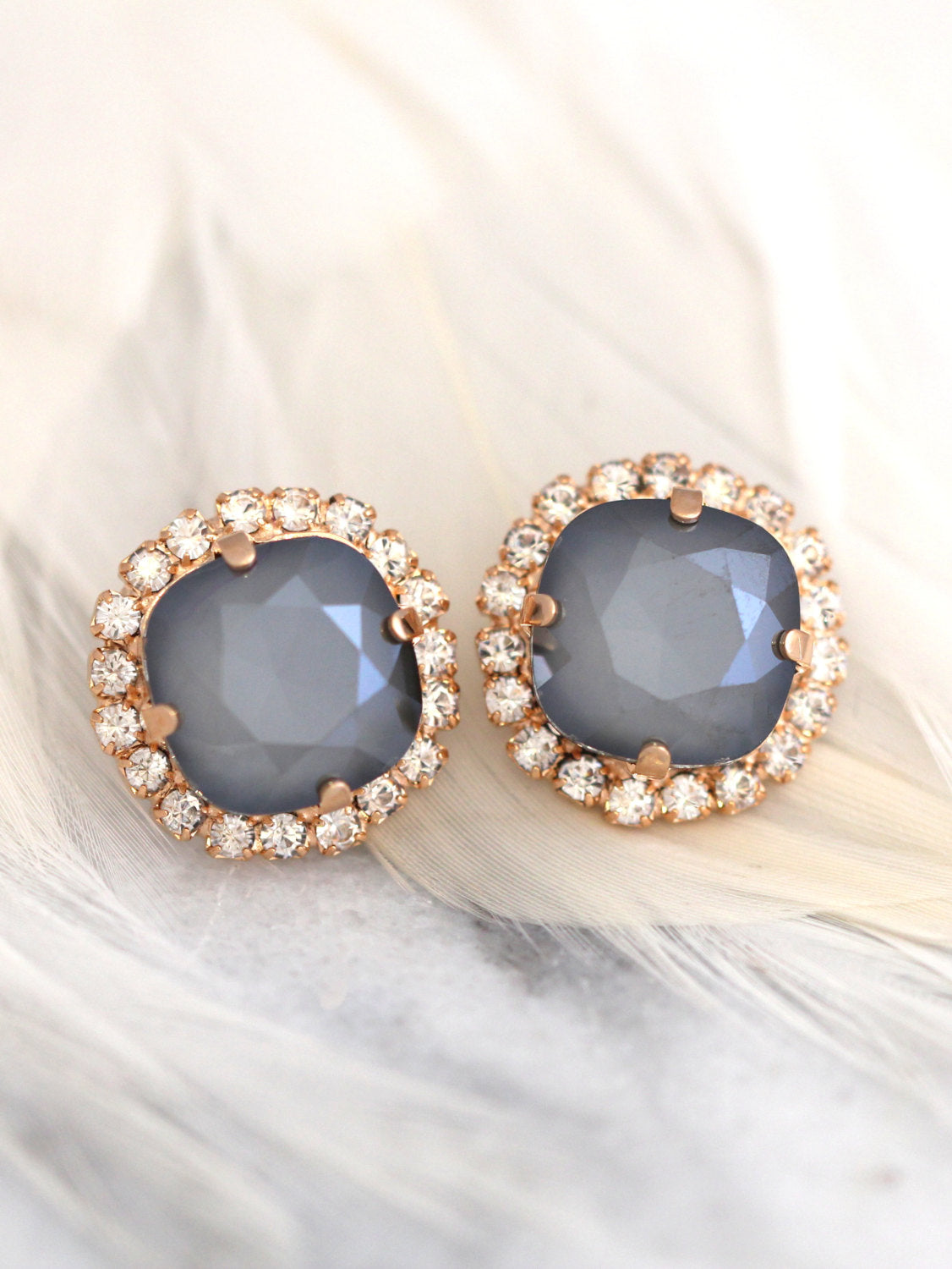 Cloe Grey Crystal Swarovski Stud Earrings