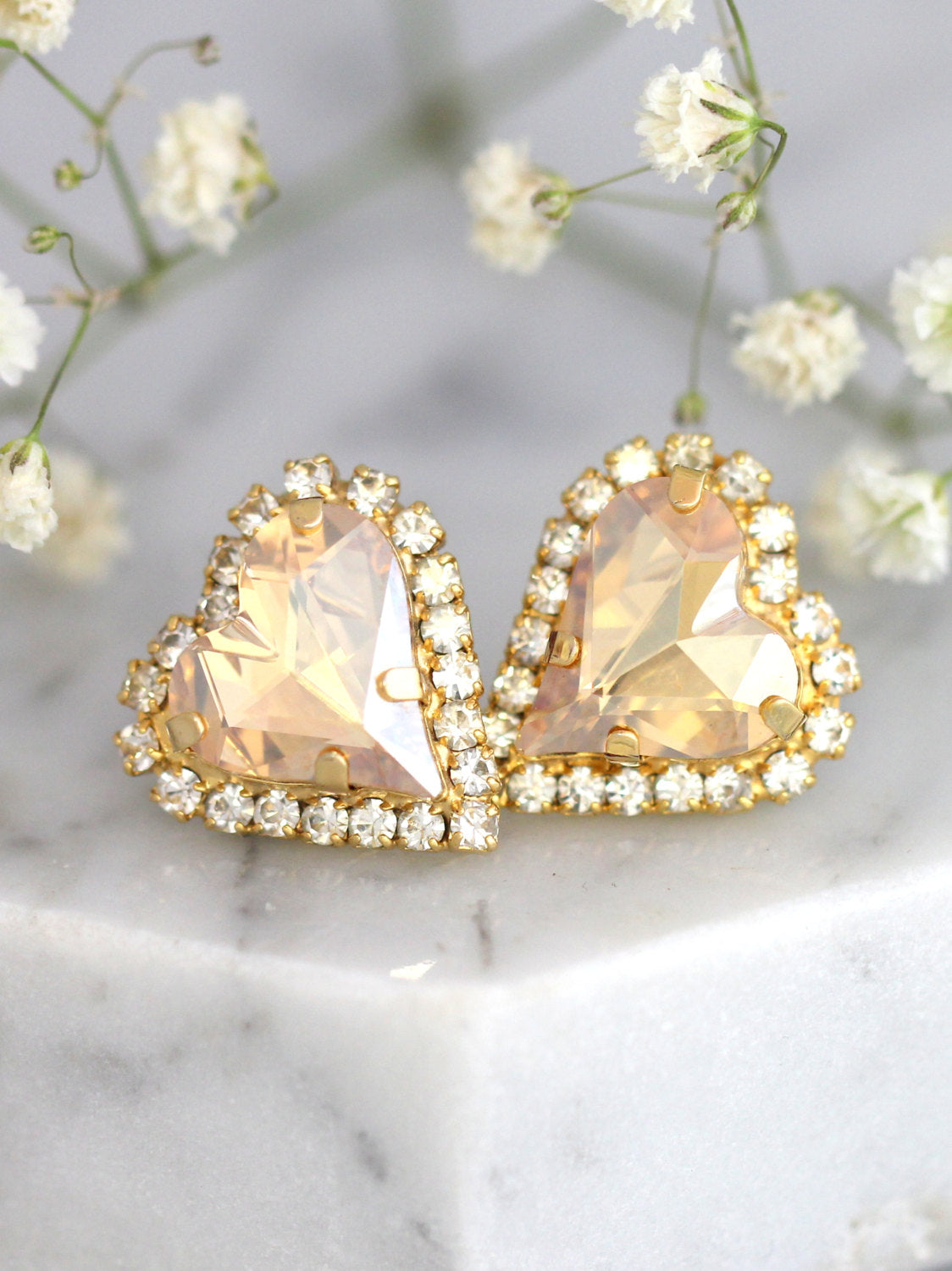 Heart Champagne Crystal Swarovski Stud Earrings