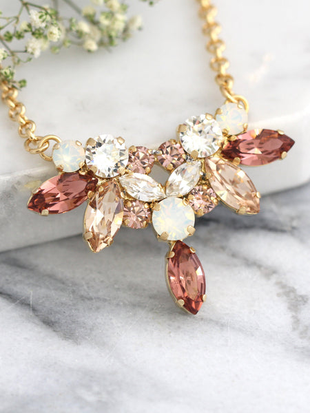 Audrey Silk Blush Pink Crystal Swarovski Bridal Necklace