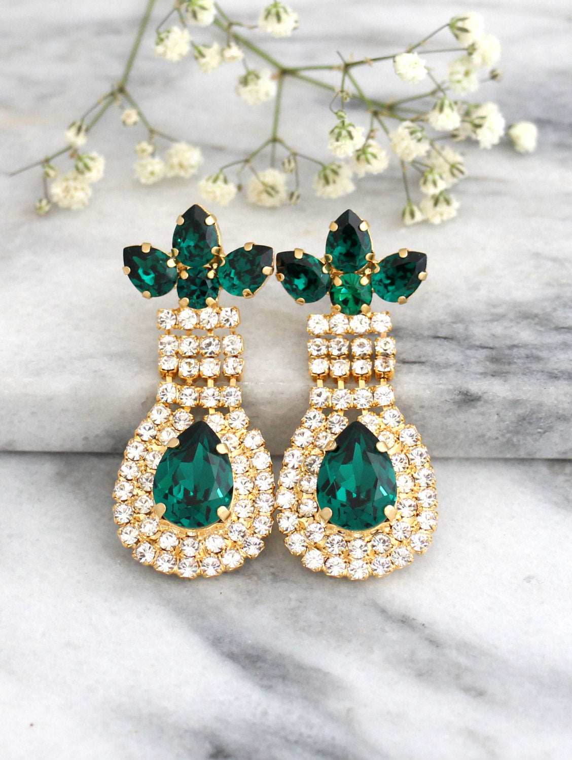 Gigi Emerald Crystal Swarovski Chandelier Earrings