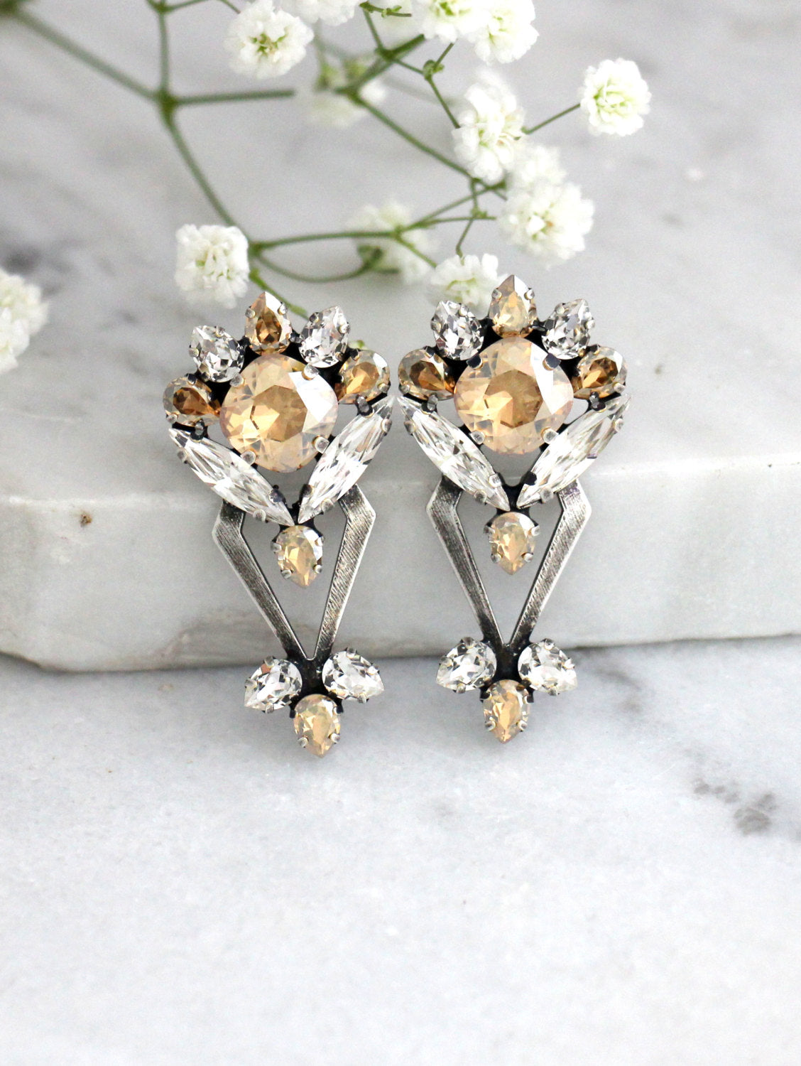 Cindy Champagne Crystal Swarovski Statement Earrings