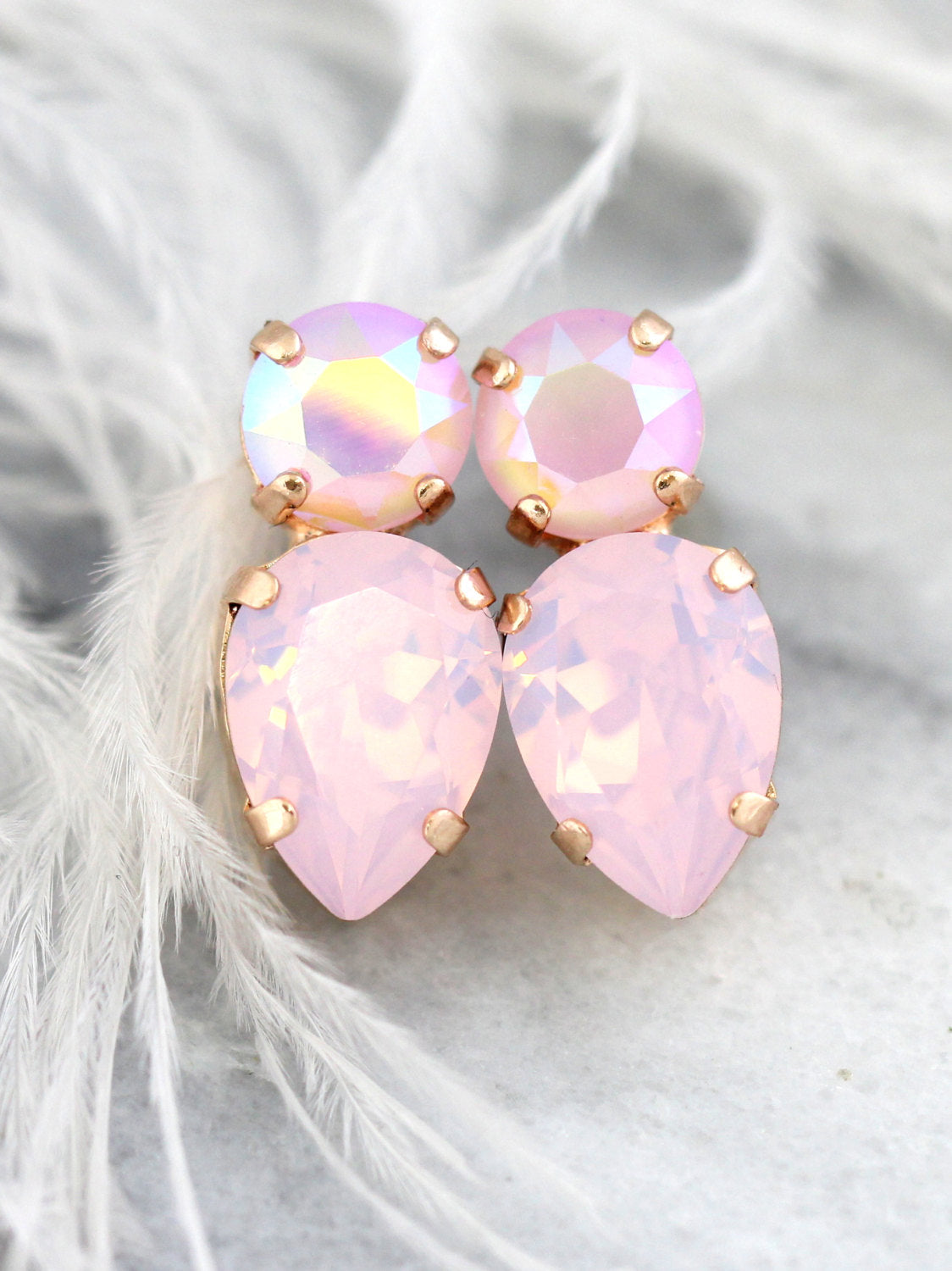 Amy Rose Quartz Shimer Crystal Swarovski Cluster Earrings