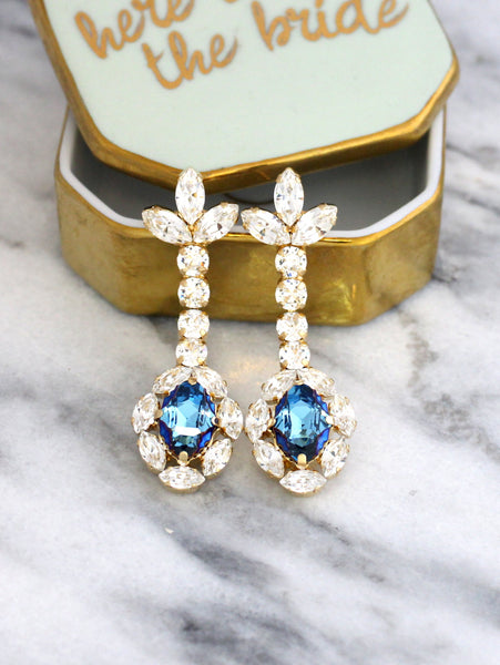 Annie Blue Clear Crystal Swarovski Bridal Chandelier Earrings