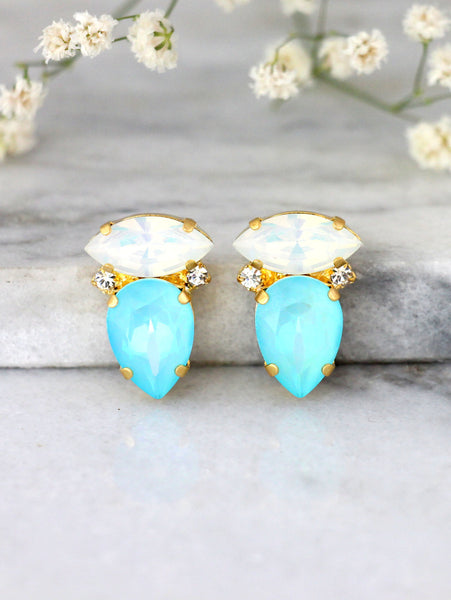 Lydia Blue Sky Crystal Swarovski Cluster Earrings
