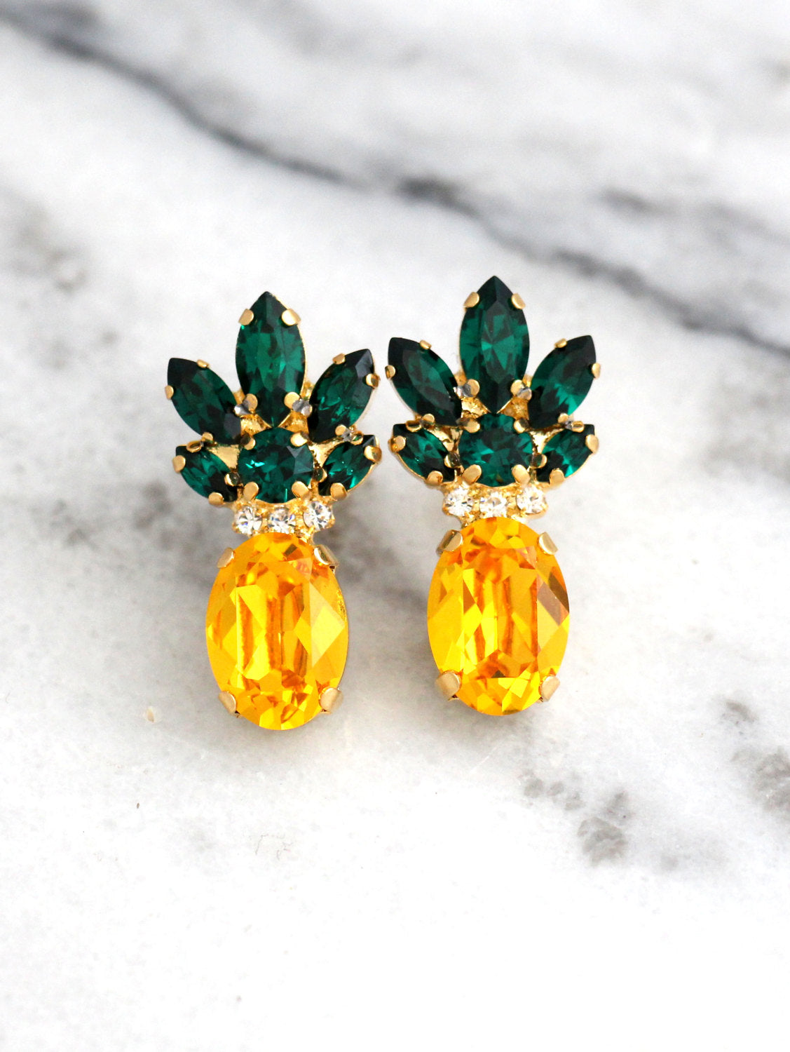 Fruit Collection Pineapple Crystal Swarovski Cluster Earrings