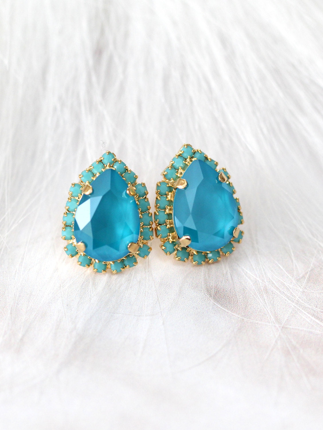 Emma Blue Sky Crystal Swarovski Stud Earrings