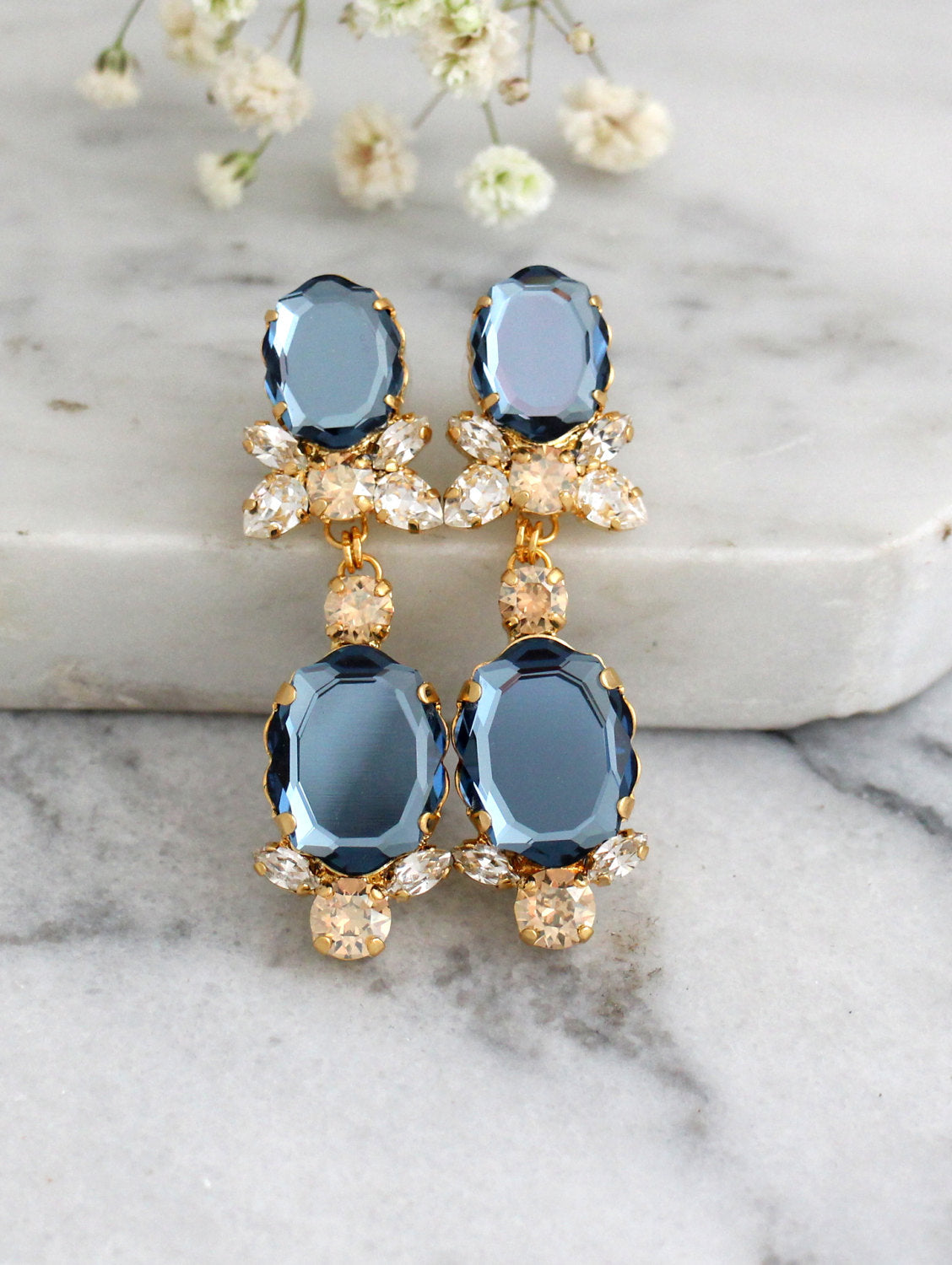 Baroque Bridal Blue Navy Crystal Swarovski Chandelier Earrings