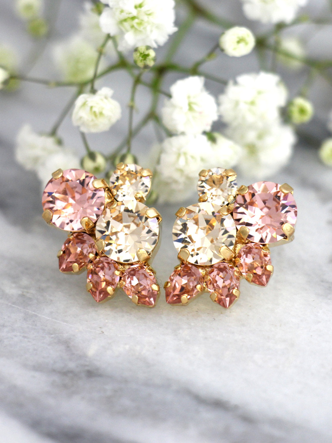 Abby Blush Pink Champagne Crystal Swarovski Cluster Earrings