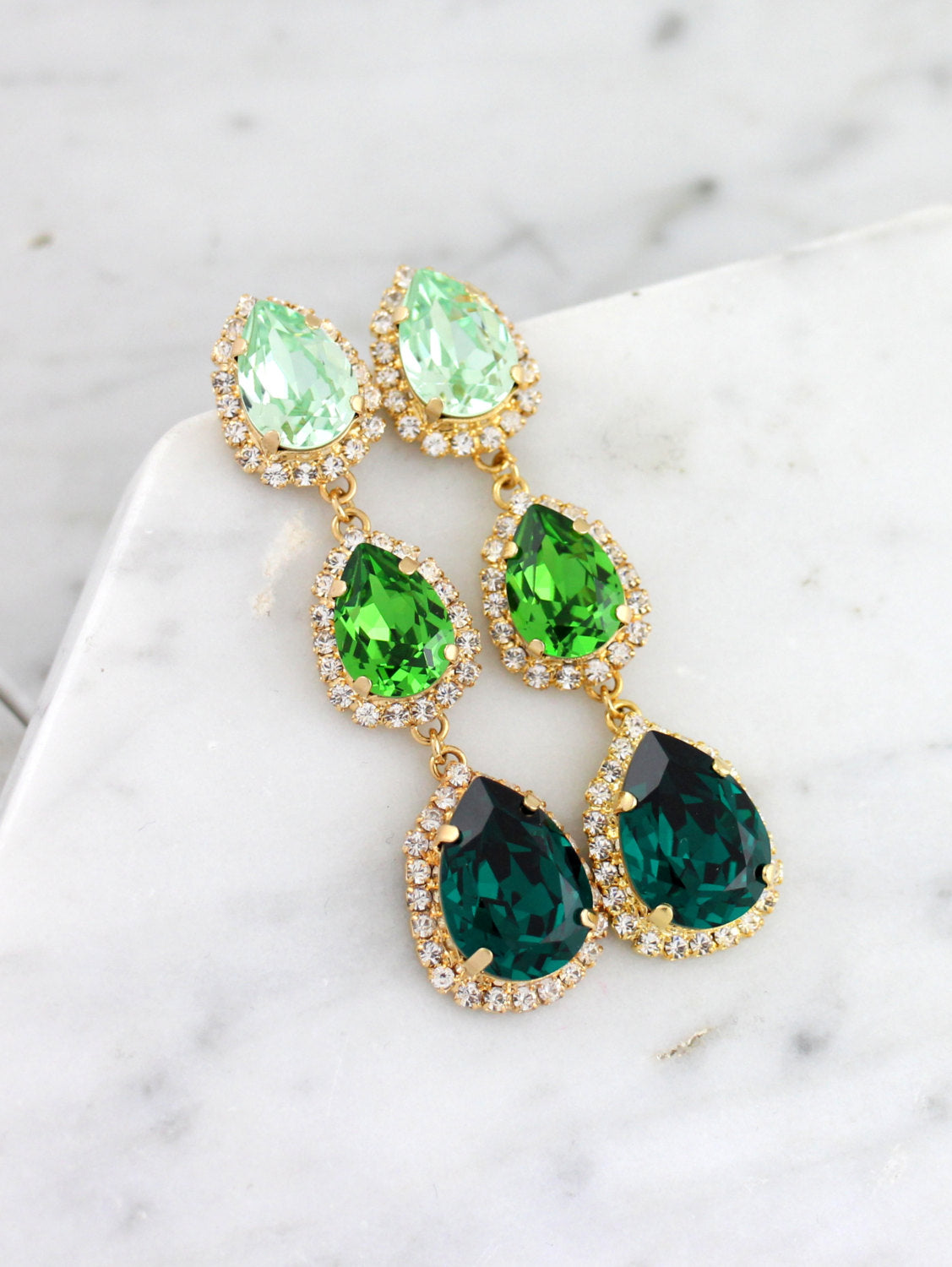Emma 3 Element Green Crystal Swarovski Chandelier Earrings