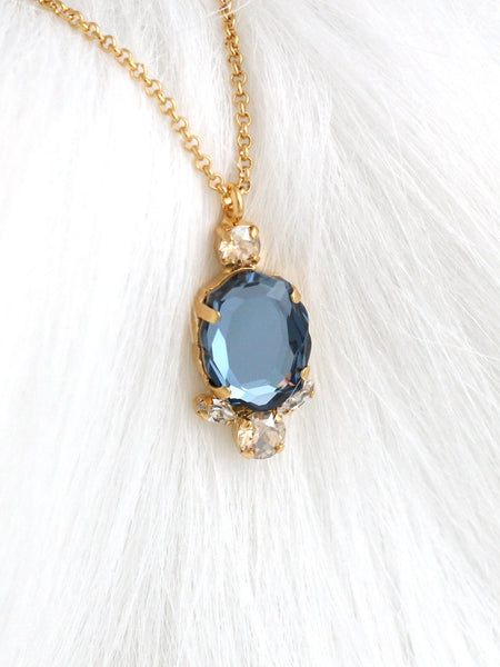 Baroque Necklace Blue Navy Crystal Swarovski