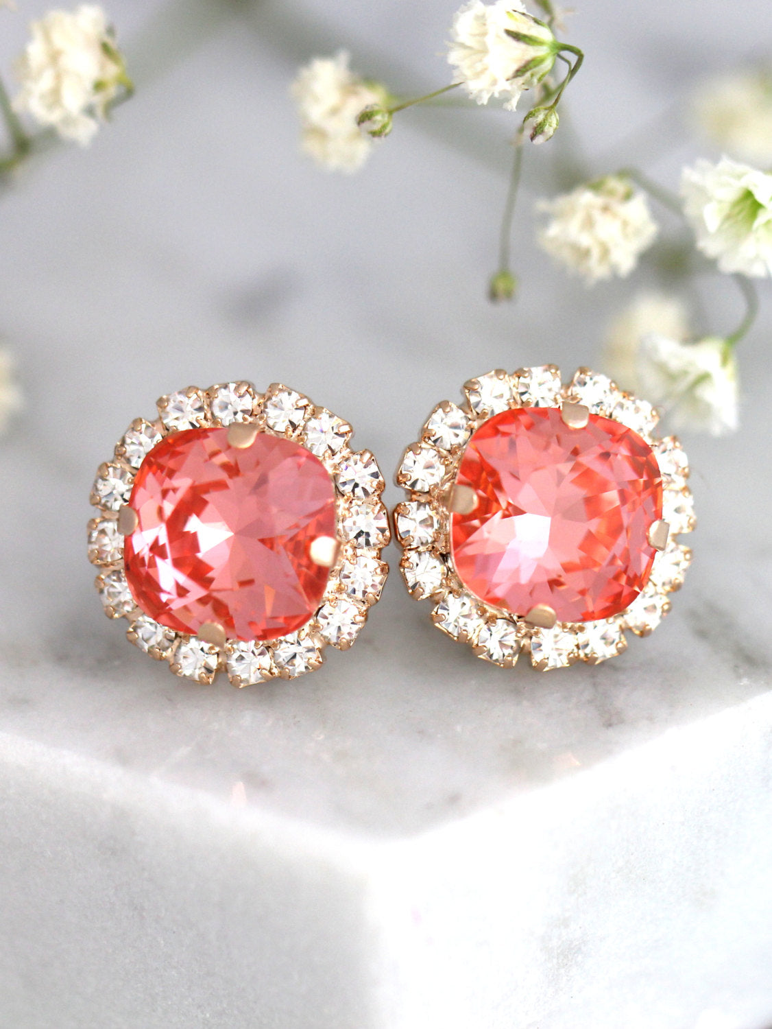 Cloe Coral Crystal Swarovski Stud Earrings
