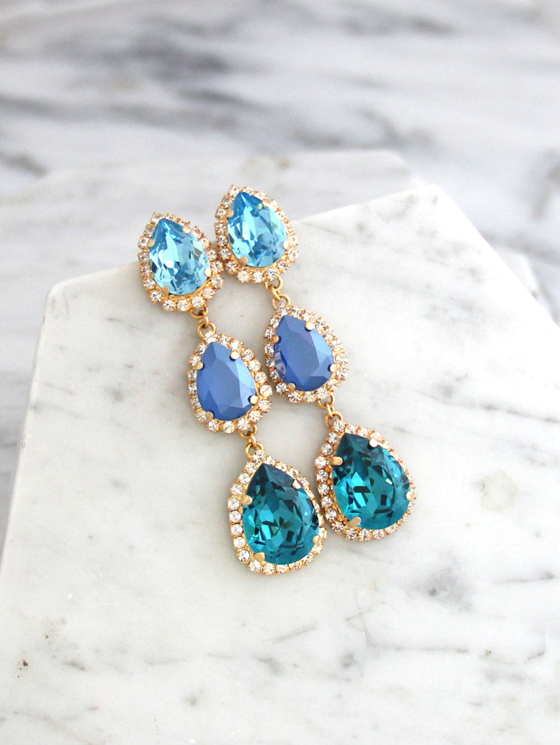 Emma Blue Teal Crystal Swarovski 3 Element Chandelier Earrings