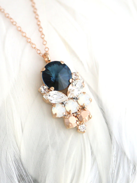 Noy Blue Navy Rose Gold Crystal Swarovski Necklace