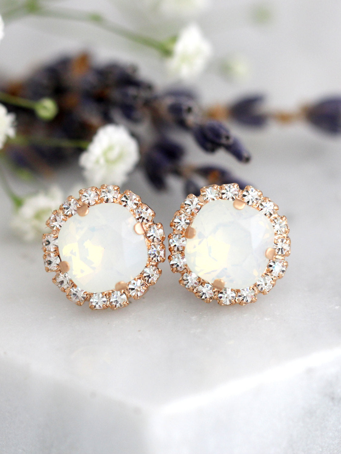 Cloe White Opal Crystal Swarovski Stud Earrings