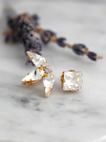 Erica Clear Crystal Swarovski Climber Earrings