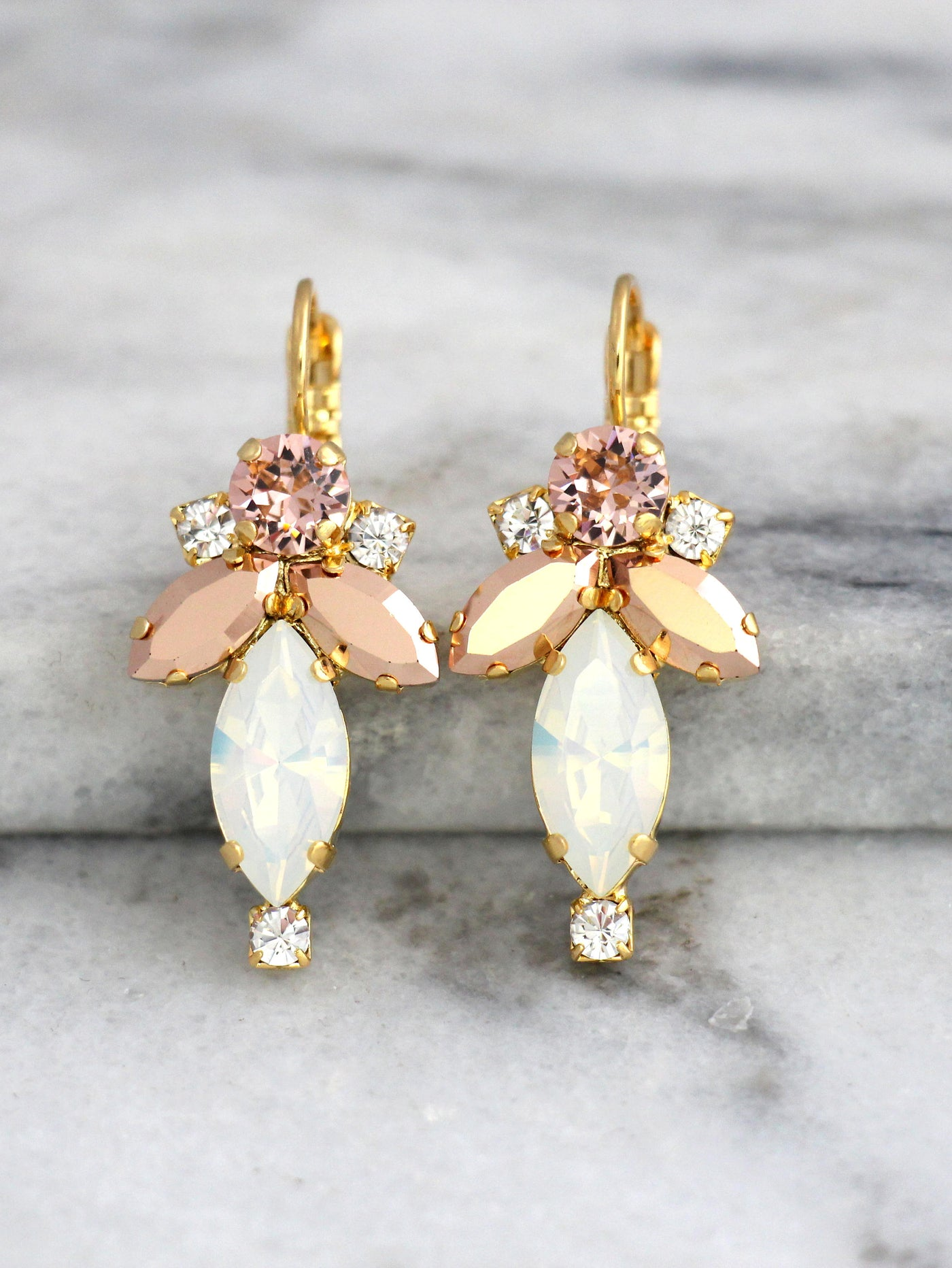 Lizy White Opal Rose Gold Crystal Swarovski Dangle Drop Earrings