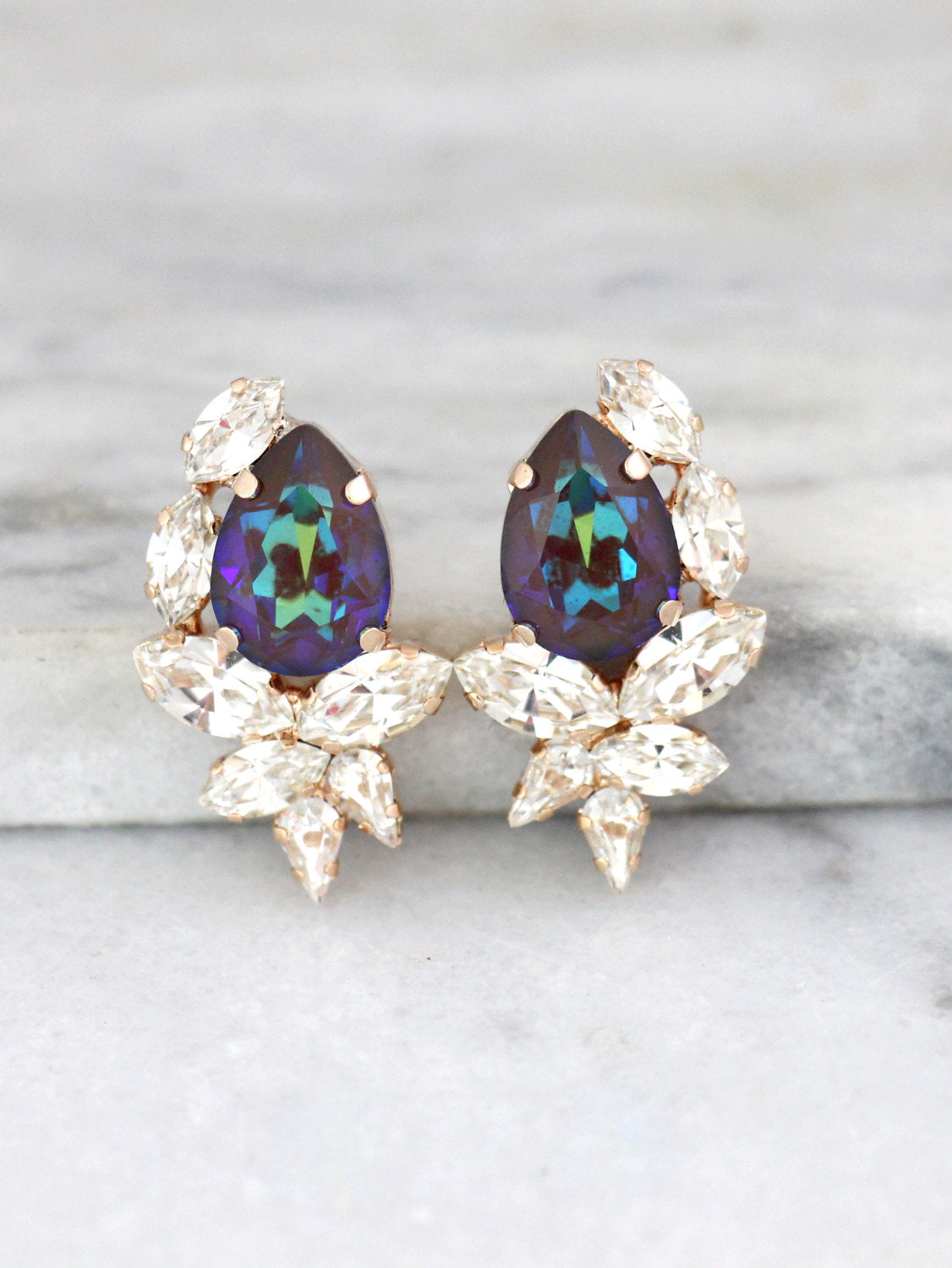 Rosa Peacock Crystal Swarovski Cluster Earrings