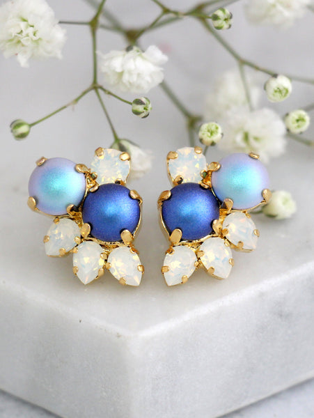 Abby Blue Pearl White Opal Crystal Swarovski Cluster Earrings
