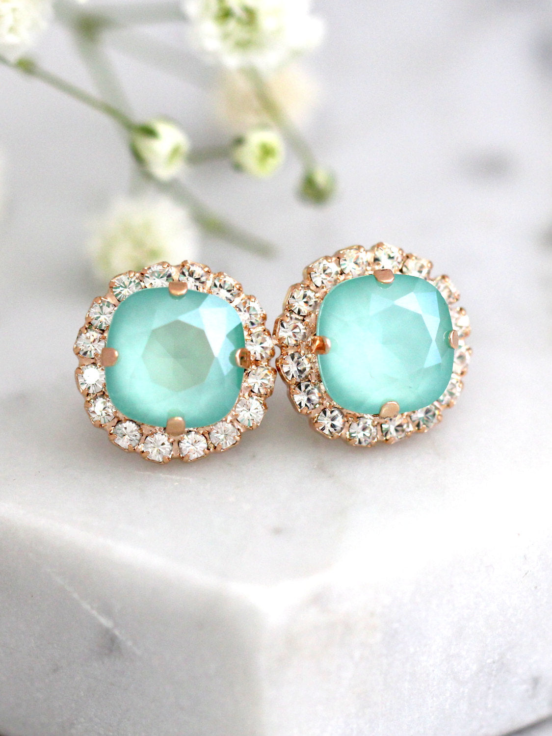 Cloe Mint Crystal Swarovski Stud Earrings