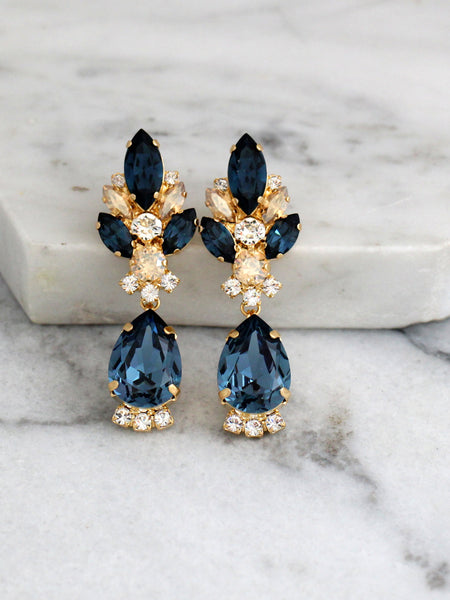 Diana Blue Navy Champagne Crystal Swarovski Chandelier Earrings