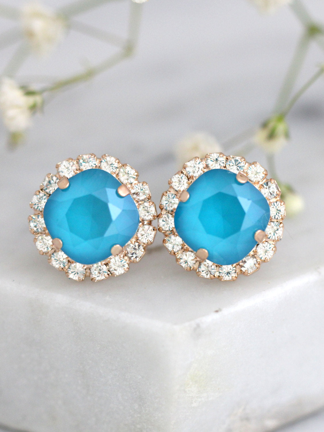 Cloe Blue Sky Crystal Swarovski Bridal Cluster Earrings