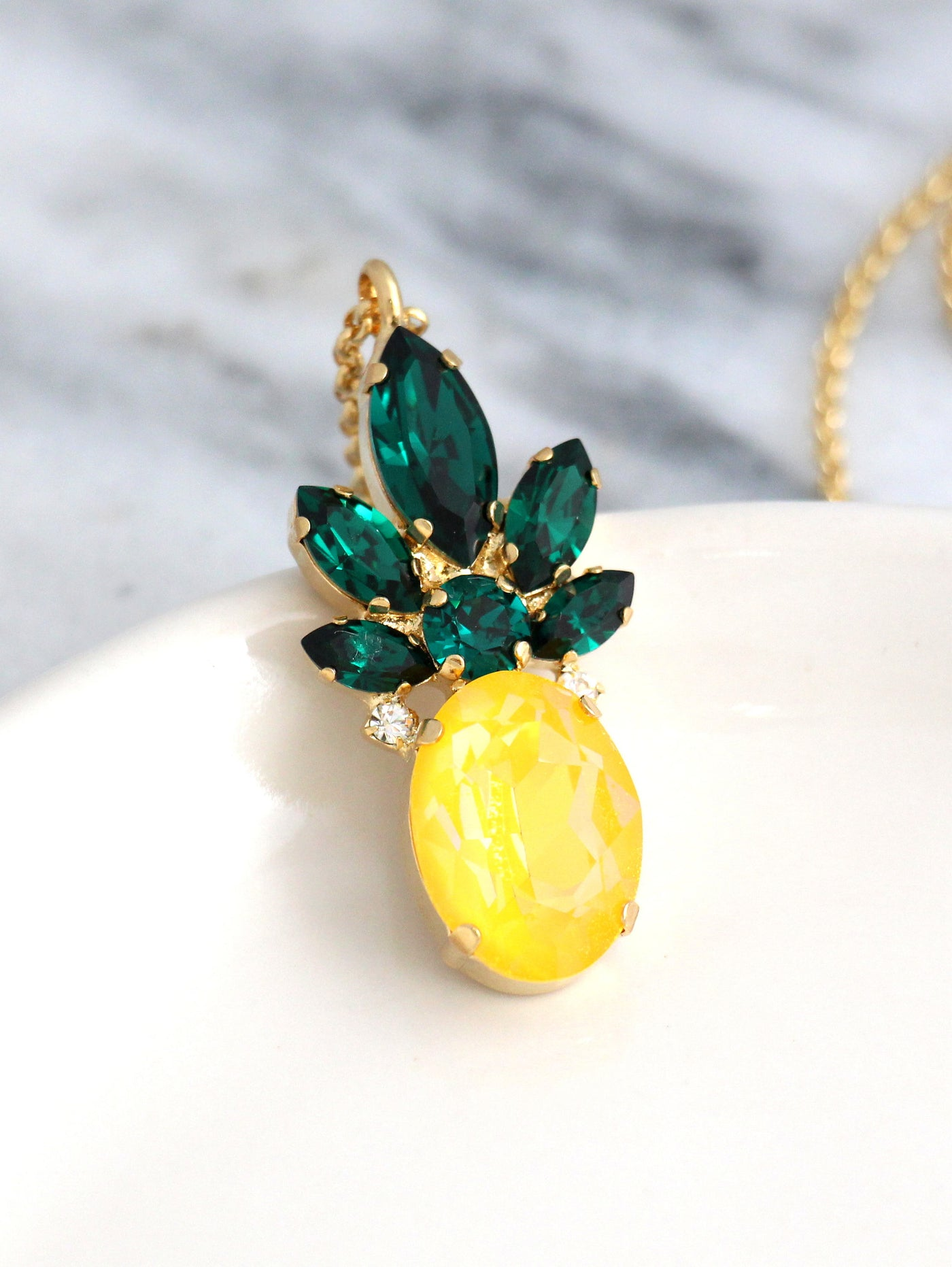 Fruit Collection Pineapple Crystal Swarovski Necklace