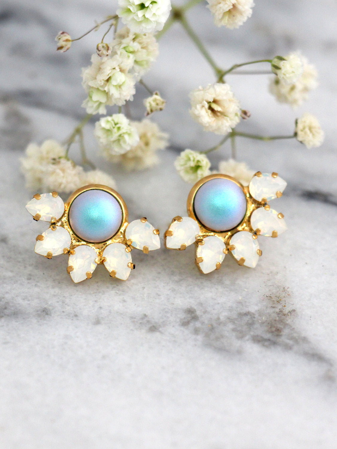 Ariel Light Blue Pearl Crystal Swarovski Cluster Earrings
