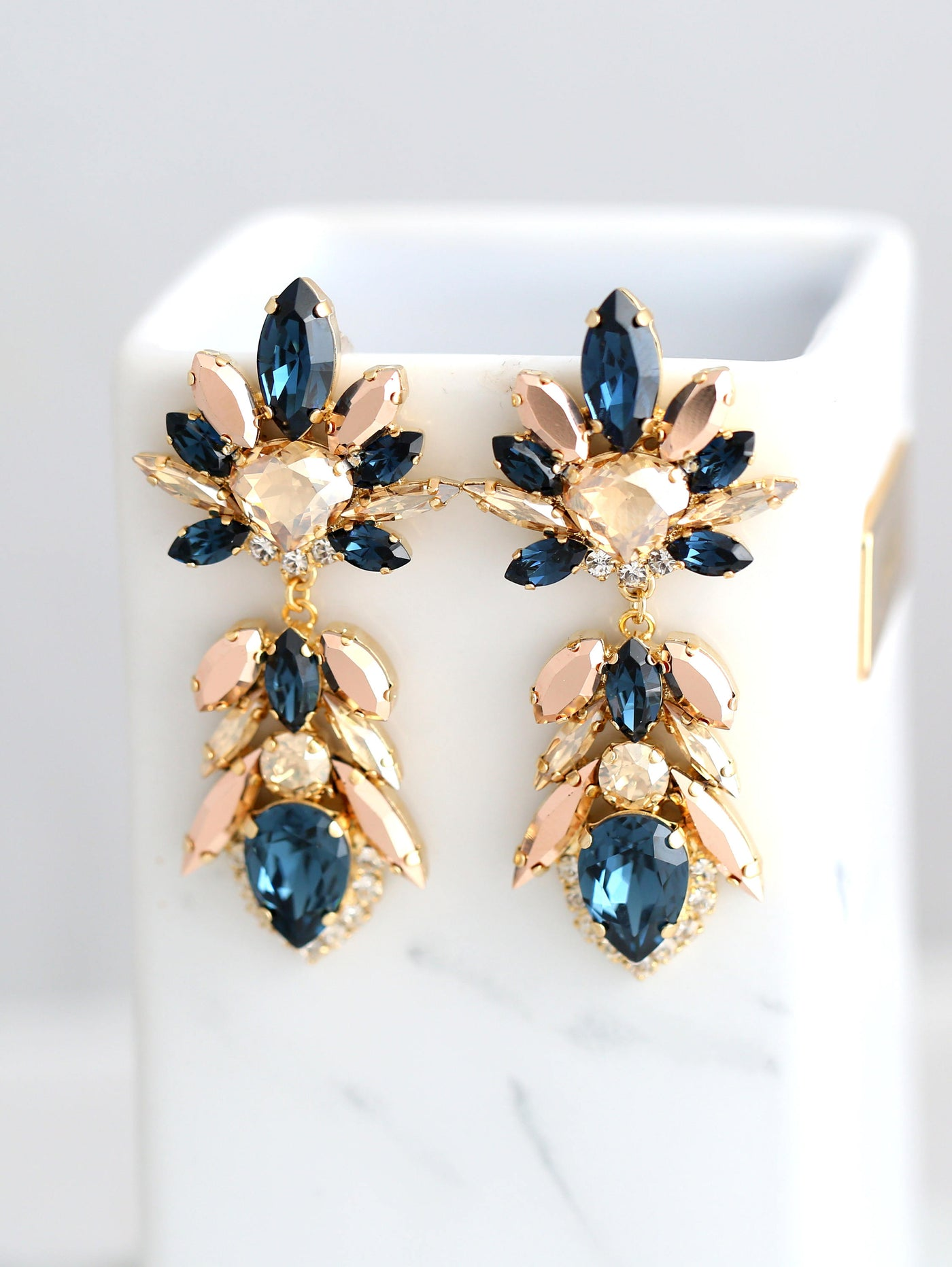 Collete Blue Navy Rose Gold Crystal Swarovski Chandelier Earrings