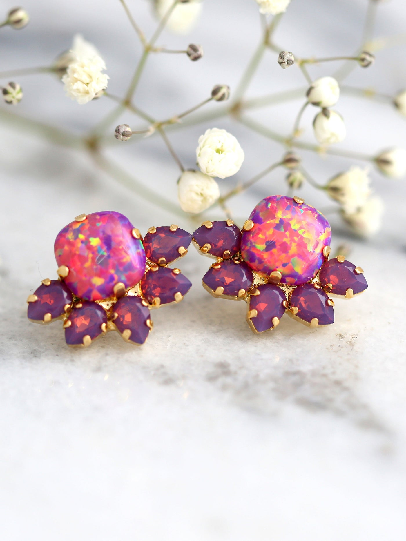 Sunny Purple Opal Crystal Swarovski Cluster Earrings