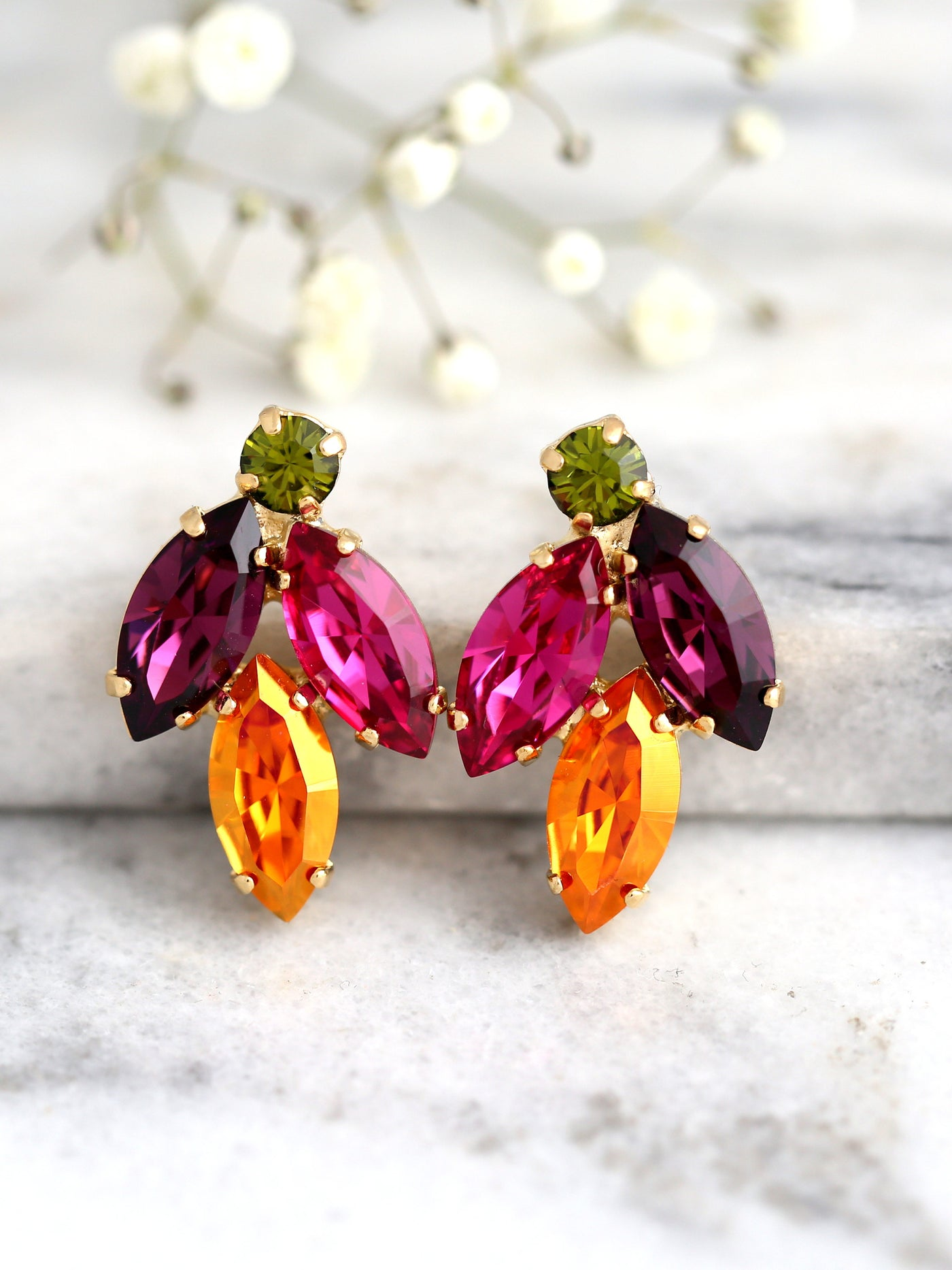 Juliet Multicolor Crystal Swarovski Cluster Earrings