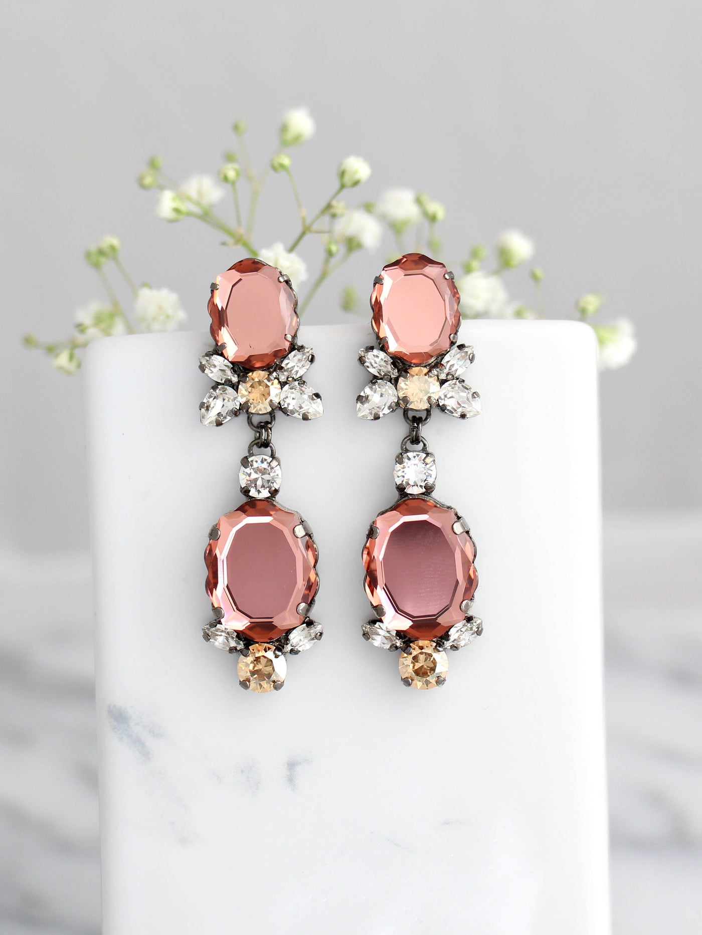 Baroque Bridal Blush Rose Crystal Swarovski Chandelier Earrings