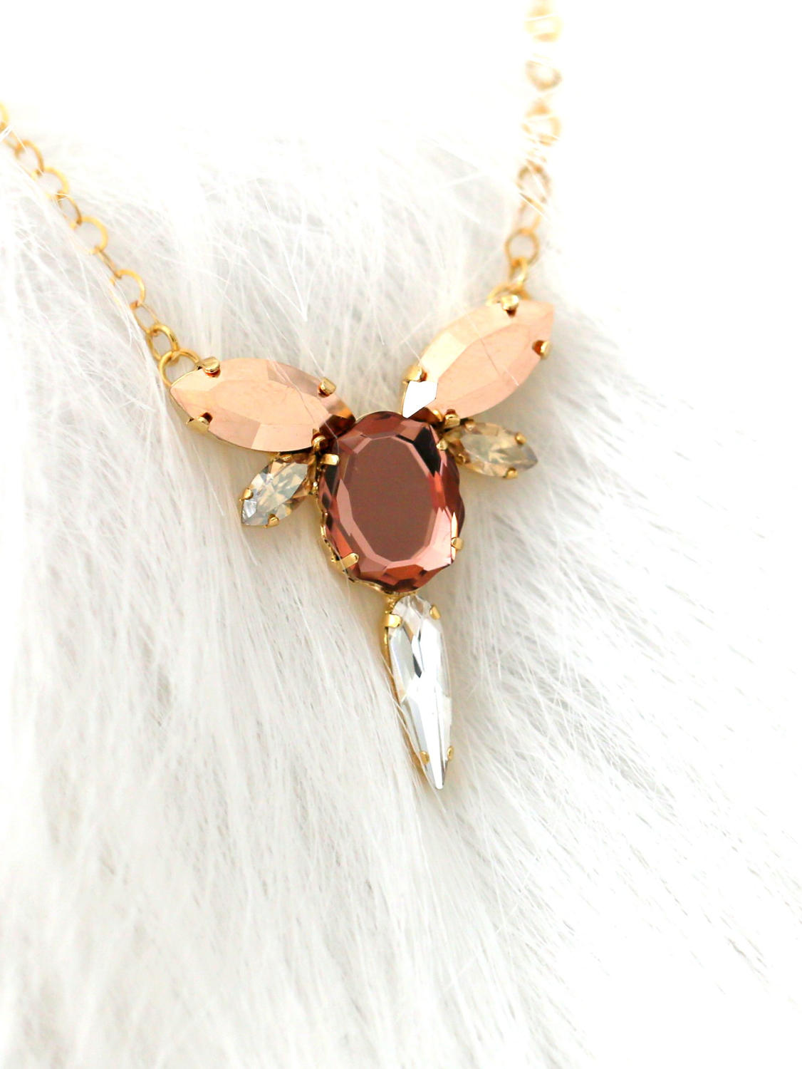 Baroque Necklace Blush Rose Crystal Swarovski
