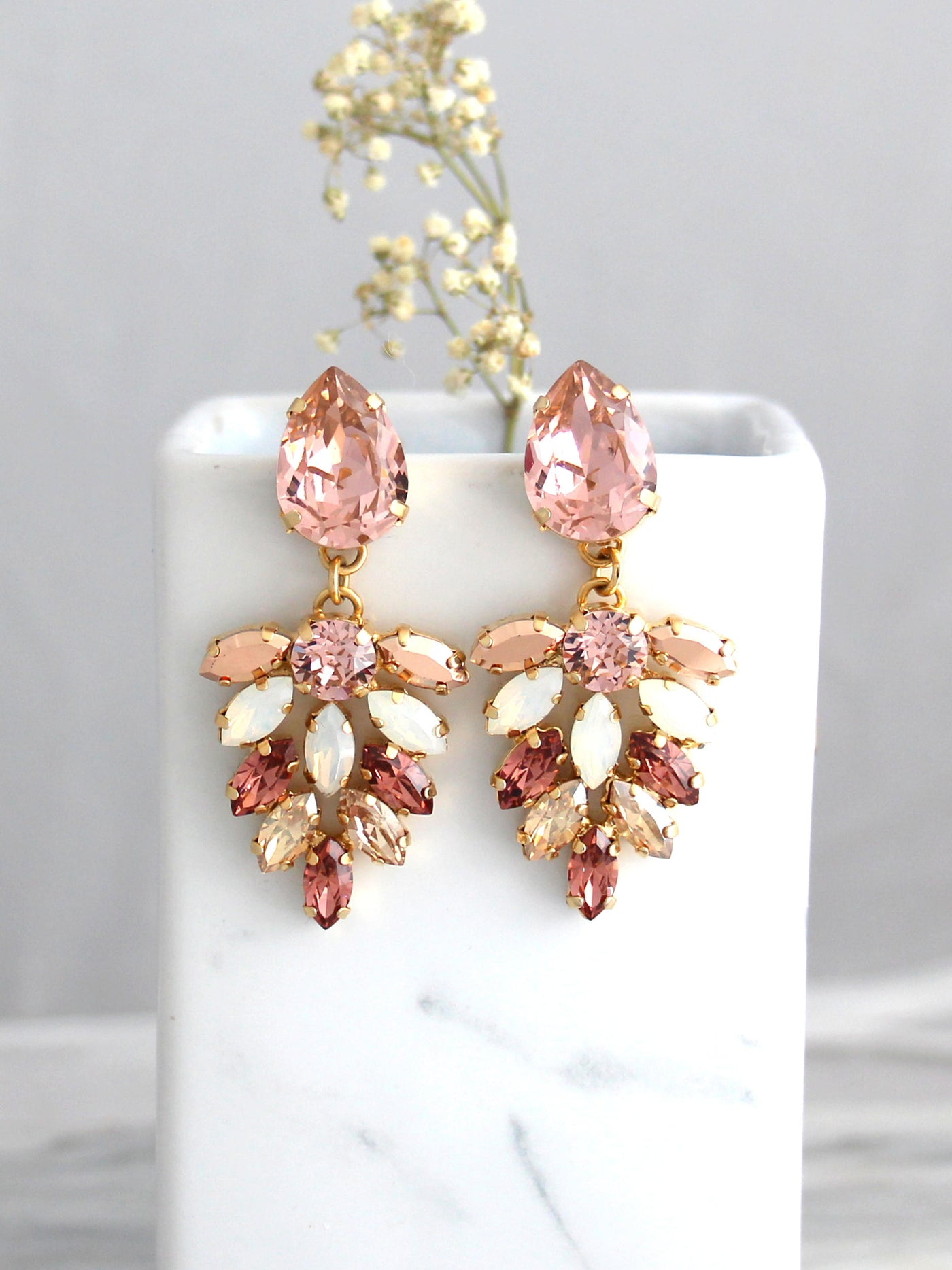 Carmen Blush Pink Rose Gold Crystal Swarovski Chandelier Earrings