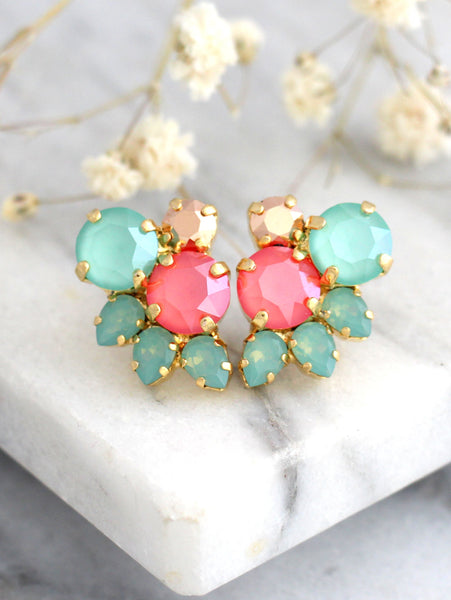 Abby Coral Mint Crystal Swarovski Cluster Earrings