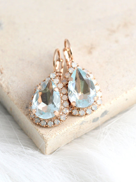 Emma Aquamarine Crystal Swarovski Dangel Drop Earrings