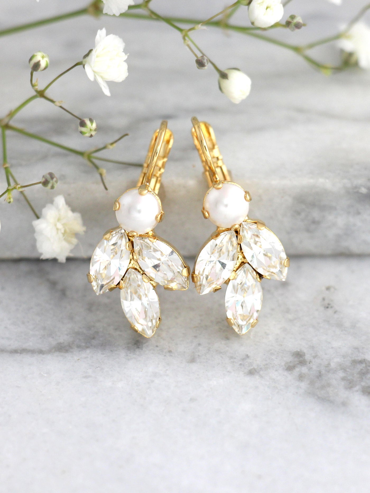 Juliet White Pearl Crystal Swarovski Dangle Drop Earrings