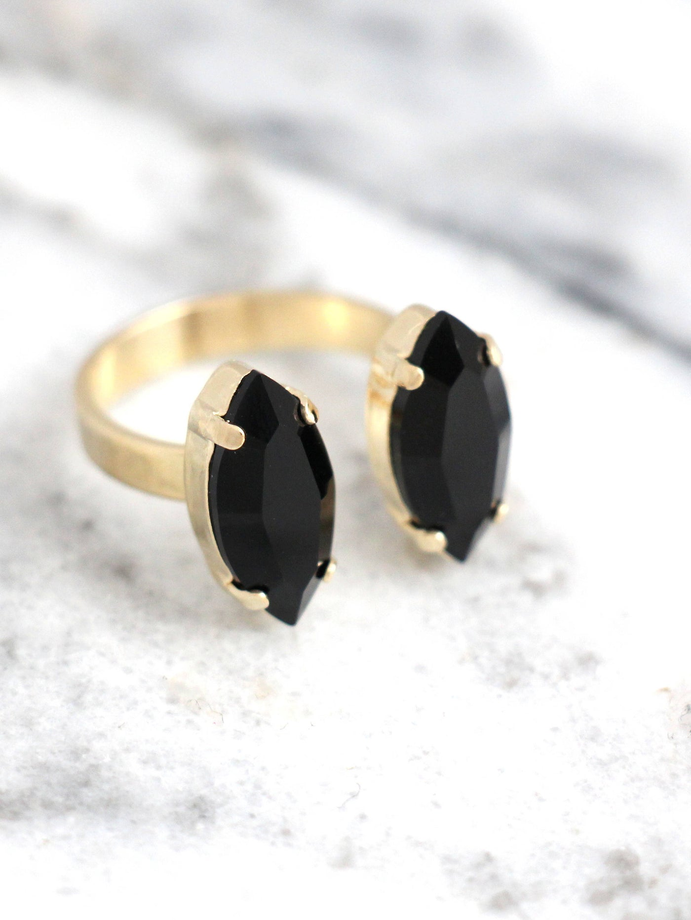 Marquize Black Crystal Swarovski Cocktail Ring