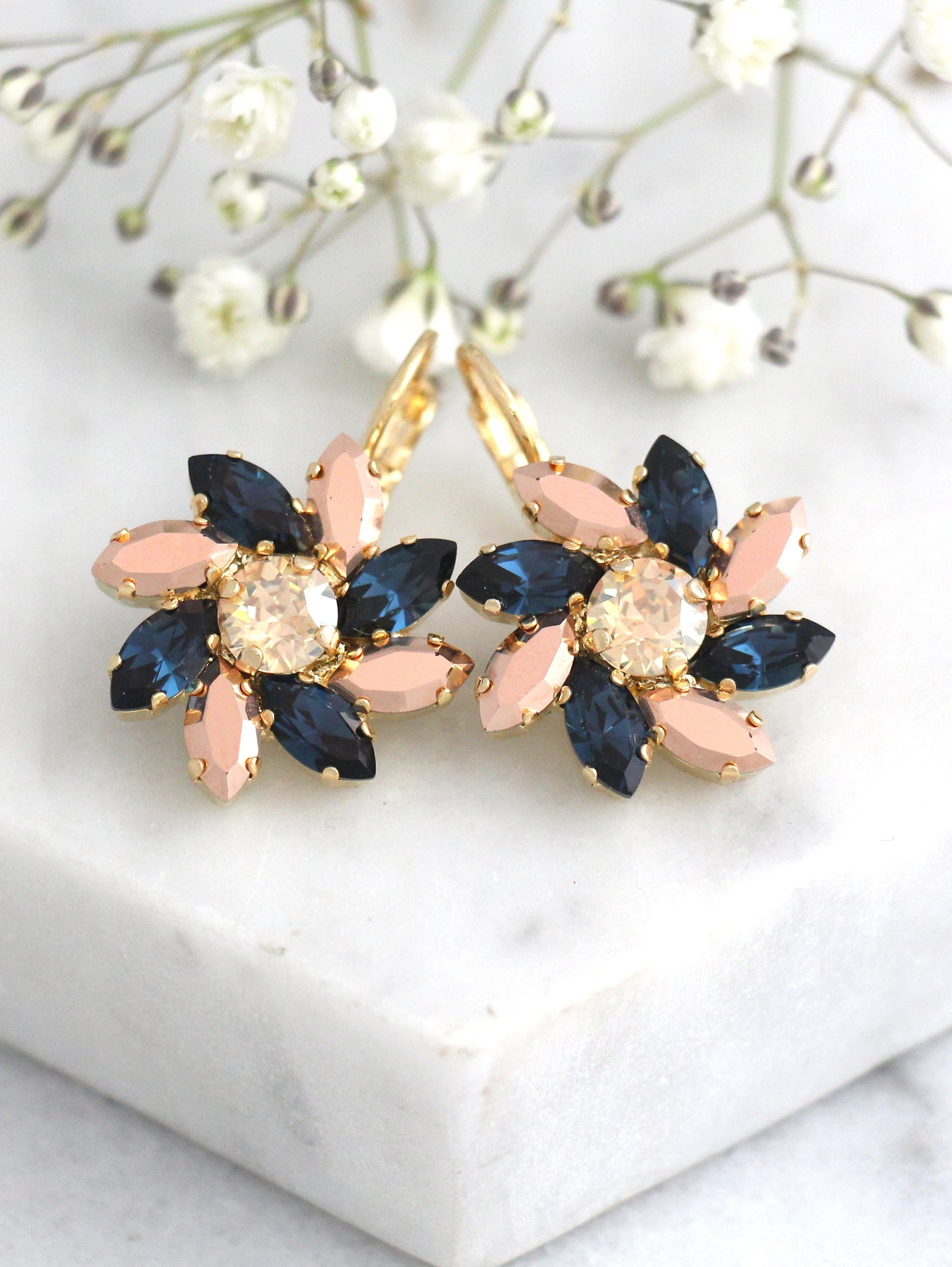 Eve Blue Navy Crystal Swarovski Dangel Drop Earrings