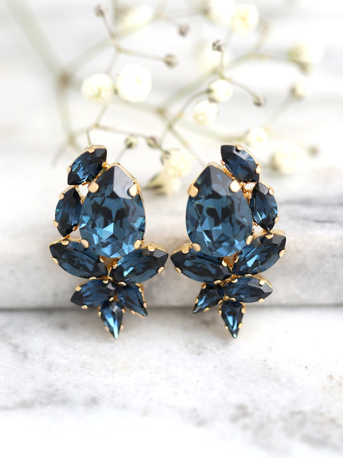 Rosa Blue Navy Crystal Swarovski Cluster Earrings