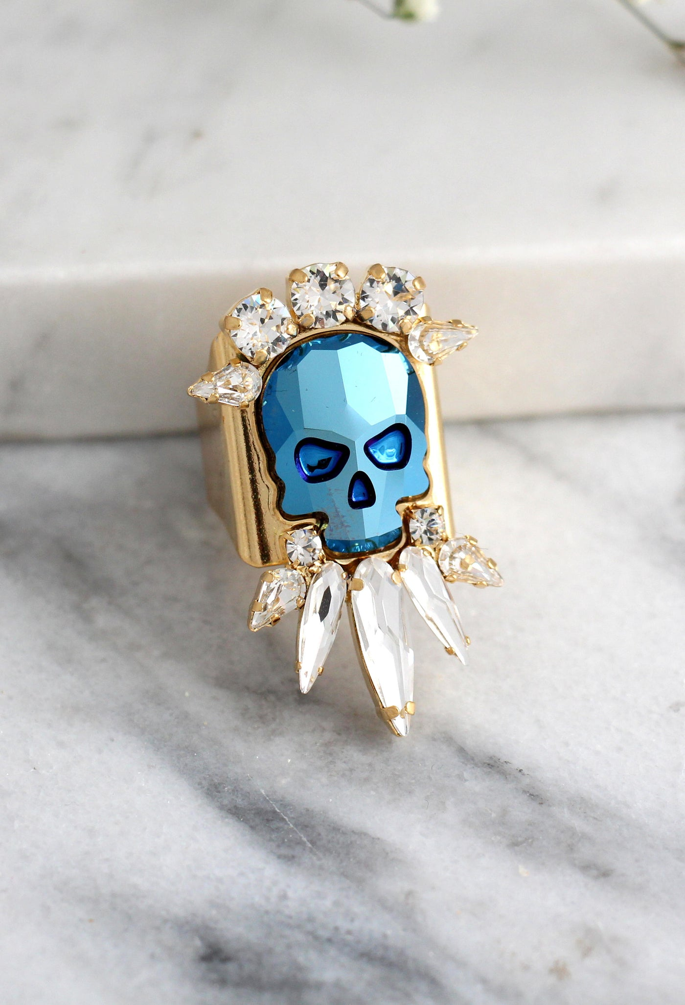 Jo's Metallic Blue Crystal Swarovski Gothic Big Sugar Skull Ring