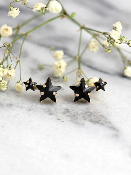 Star Earrings, Black earrings, Black Climbing Earrings, Bridal Black Earrings, Black Studs, Black Crystal Earrings, Bridesmaids Earrings