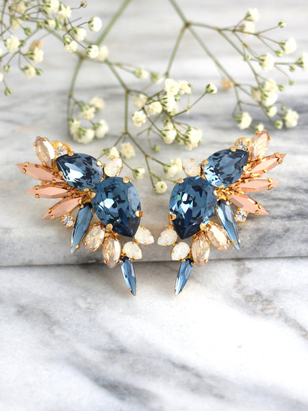 Andrea Blue Navy Crystal Swarovski Bridal Statement Climbing Earrings