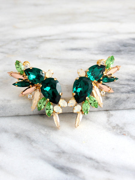 Andrea Green Emerald Crystal Swarovski Statement Climbing Earrings