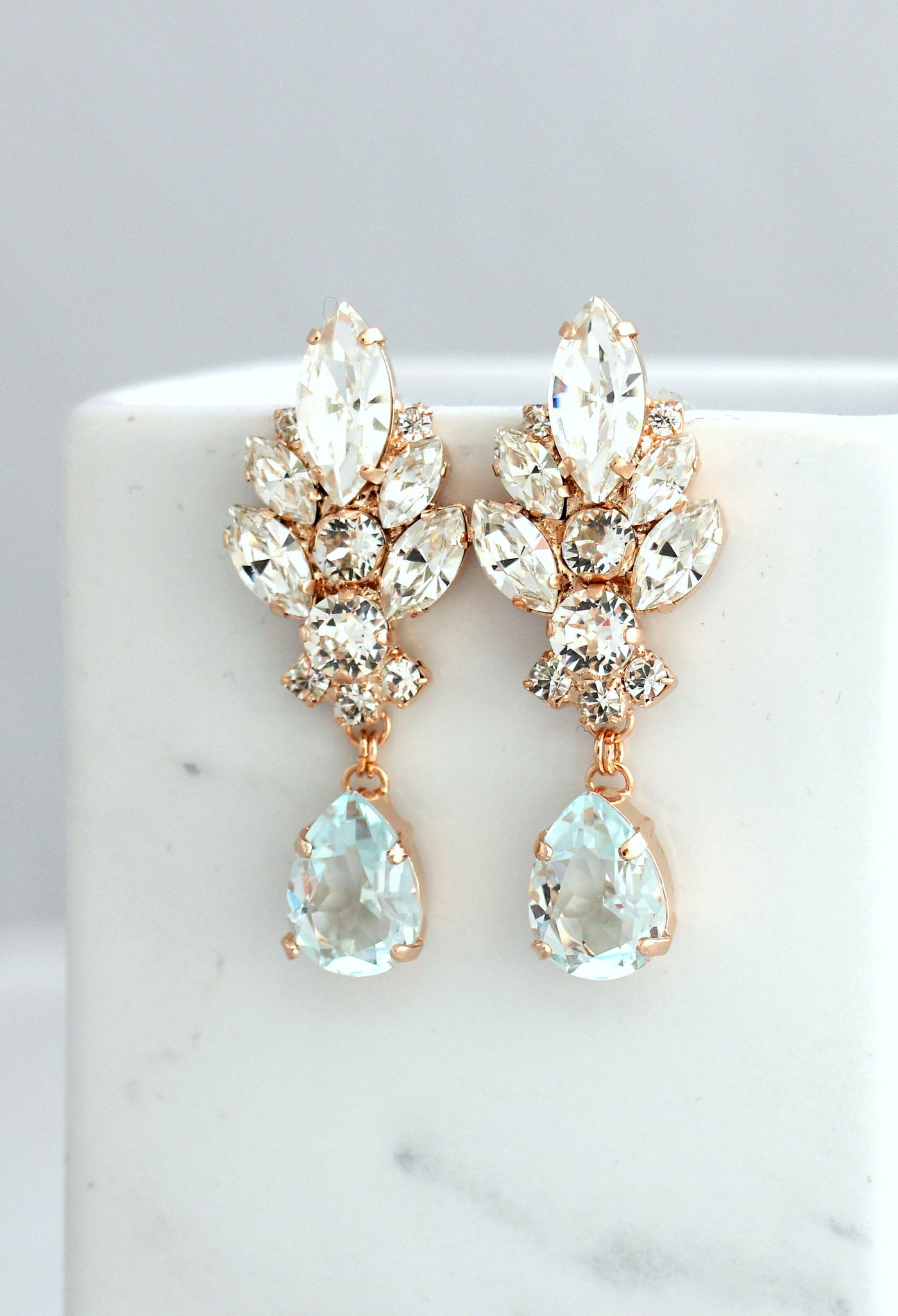 Diana Aquamarine Clear Crystal Swarovski Chandelier Earrings