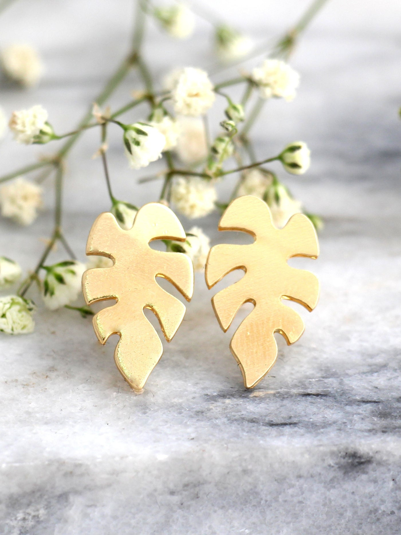 Monstera Leaf Earrings Bridamade Stud Earrings