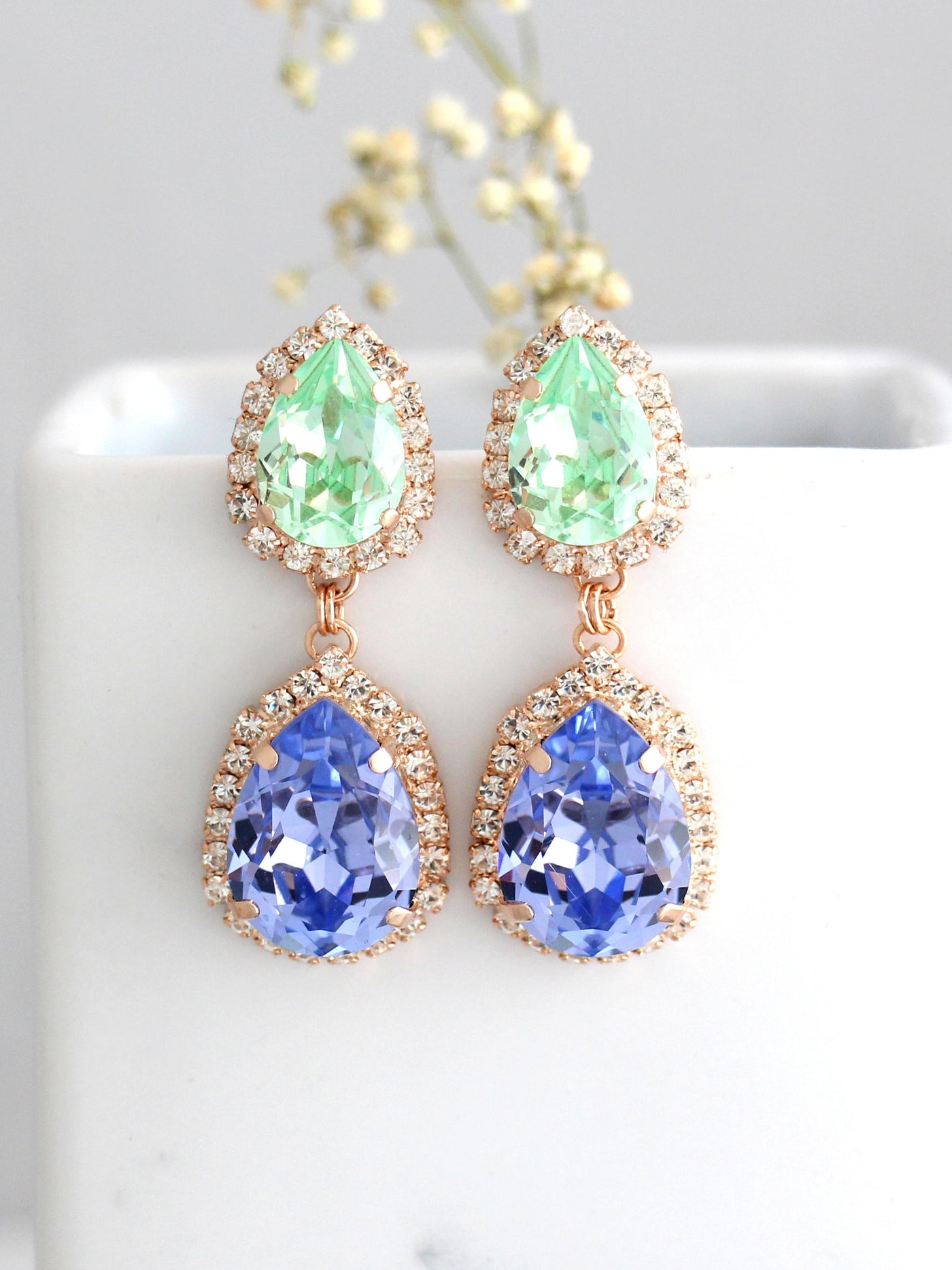 Ema Mint Lilac Crystal Swarovski Chandelier Earrings