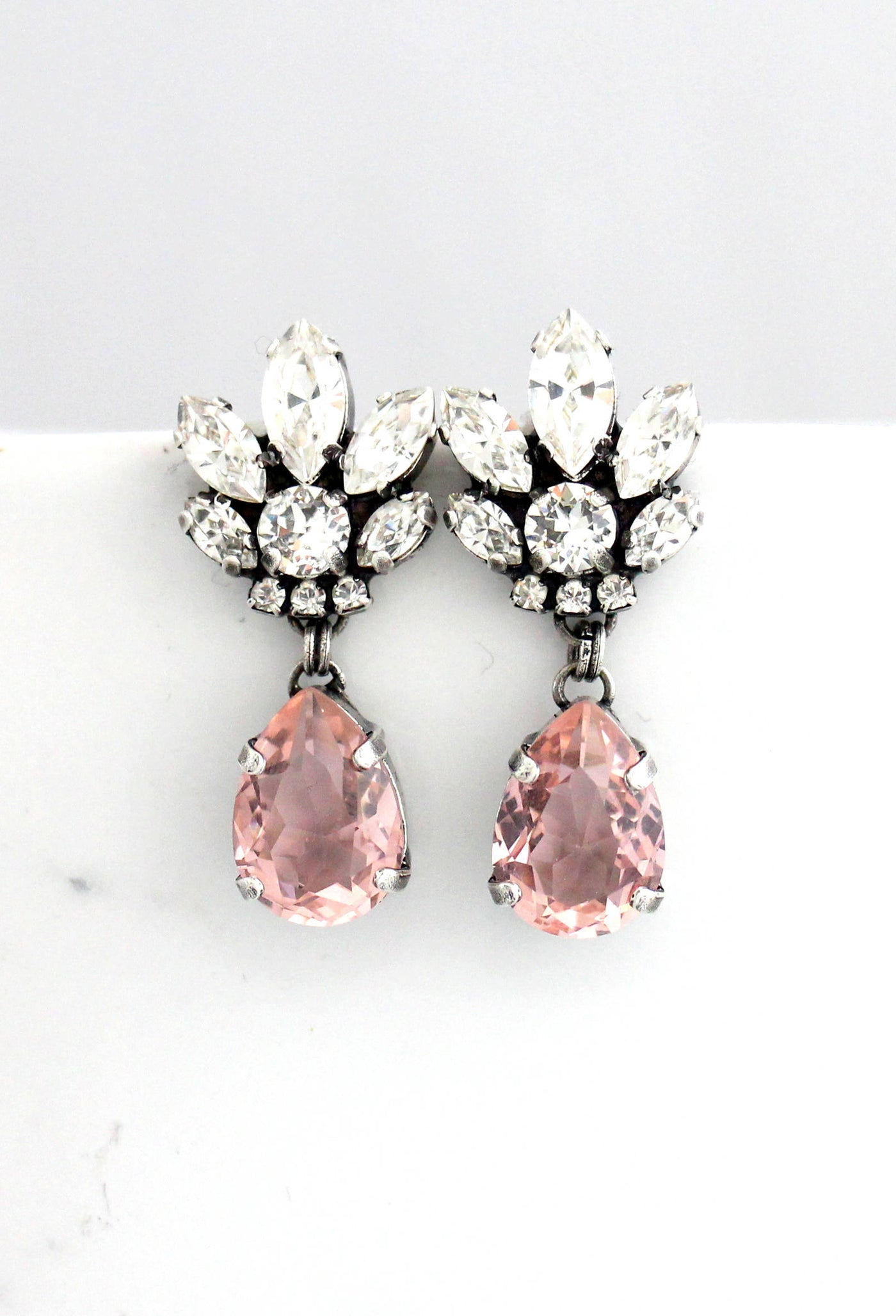 Bell Blush Pink Peach Crystal Swarovski Chandelier Earrings